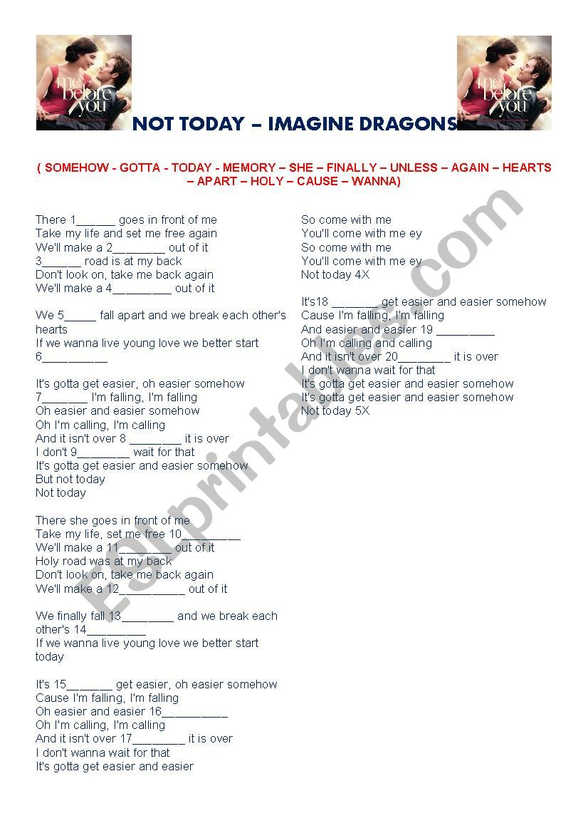 Not today - Imagine Dragons worksheet