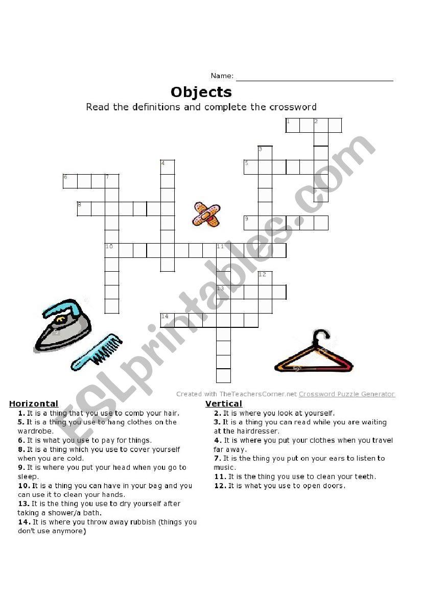 Crossword EVERYDAY OBJECTS worksheet