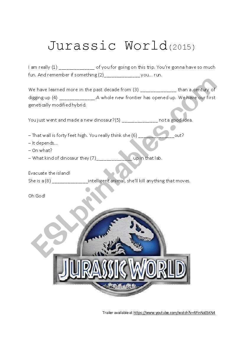 Movie trailer (listening activity) - Jurassic World - ESL