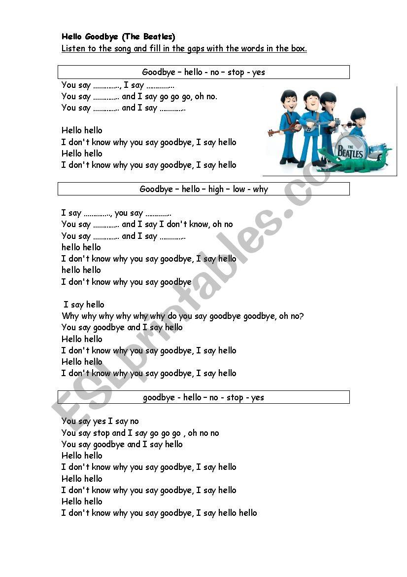 Hello Goodbye - The Beatles worksheet