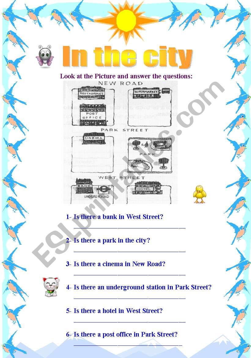 In the City worksheet