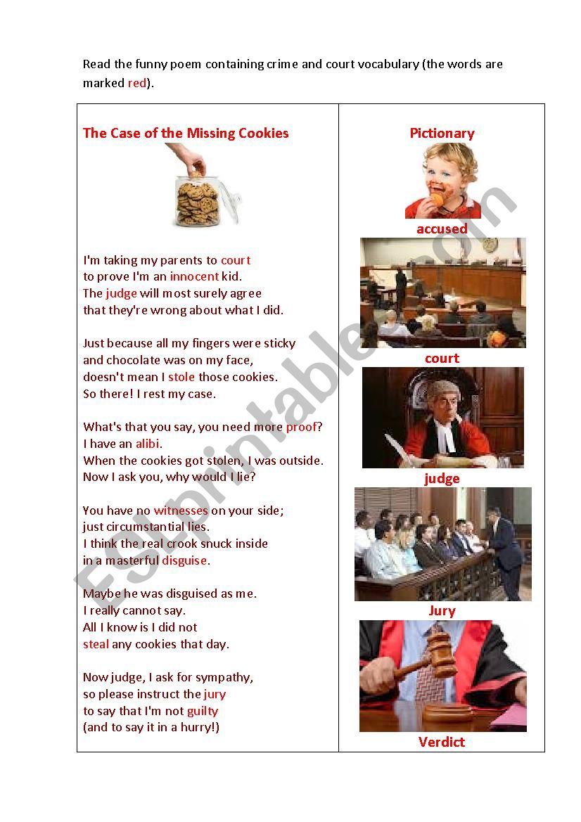THE CASE OF THE MISSING COOKIES ( a poem + a matching exercise)