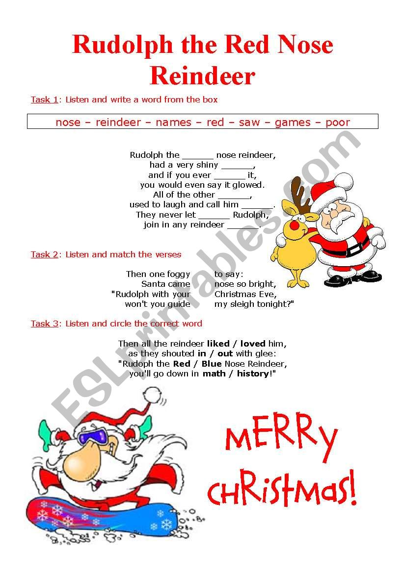Song: Rudolph the red nose reindeer