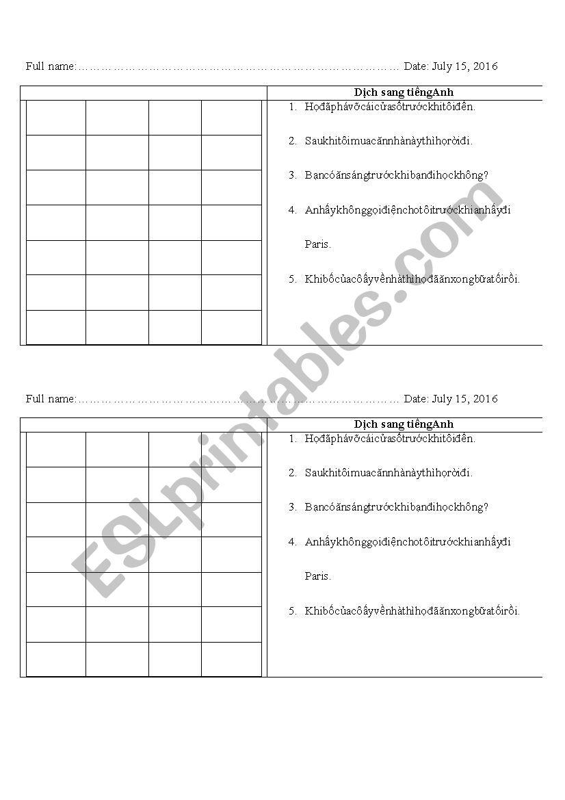 Checking knowledge worksheet