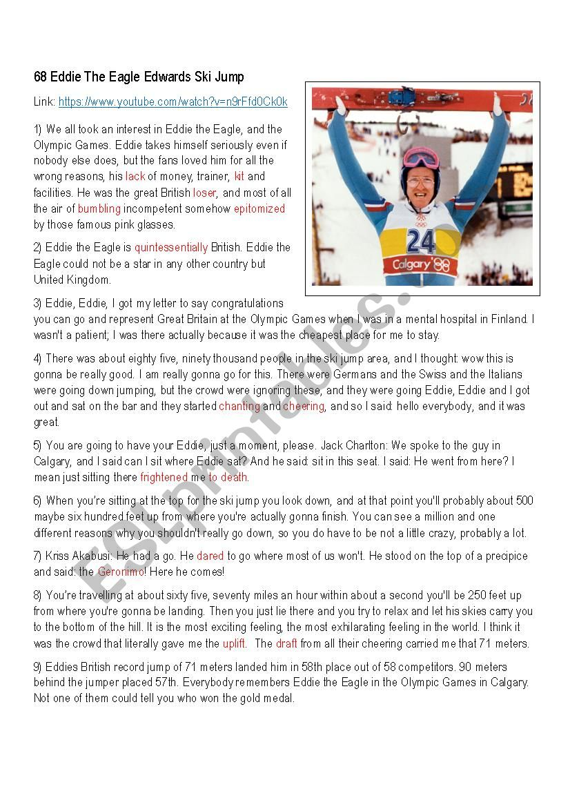 Eddie the Eagle, Ski Jumper worksheet