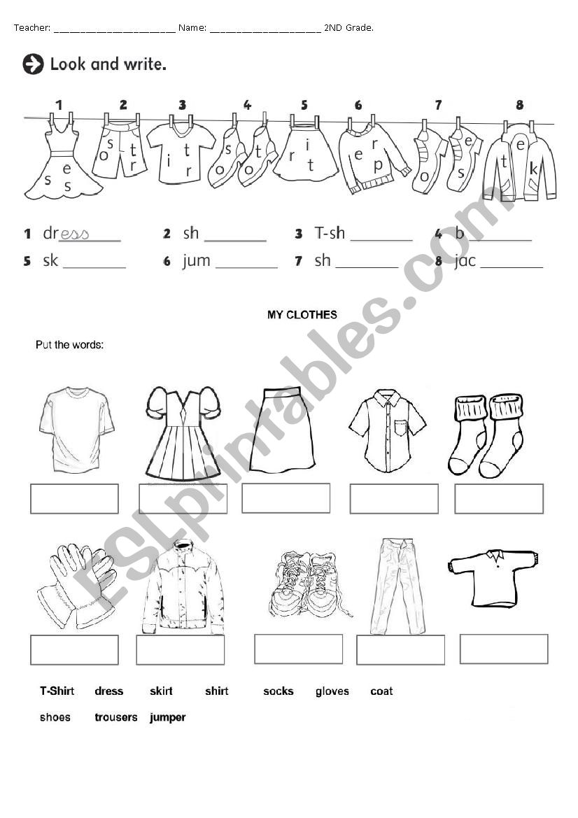 Clothes Esl Worksheet By Pombinha