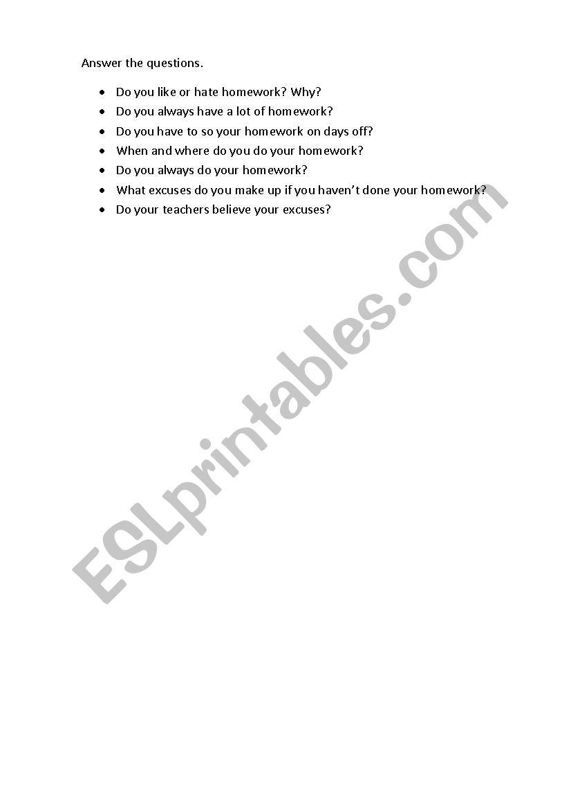 homework excuses poem