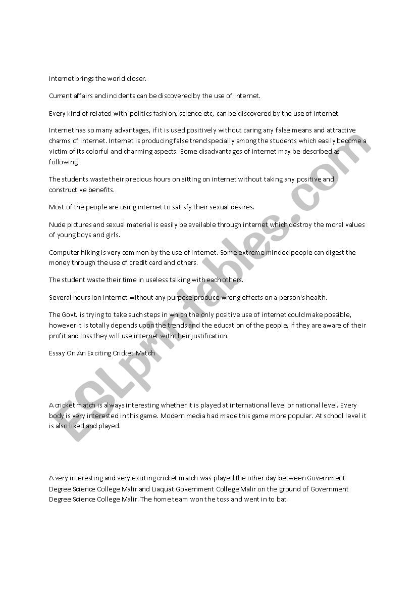 Essay On Importance Of Good Health  Health Issues Essay also In An Essay What Is A Thesis Statement Essays For Class   Esl Worksheet By Saffo Terrorism Essay In English