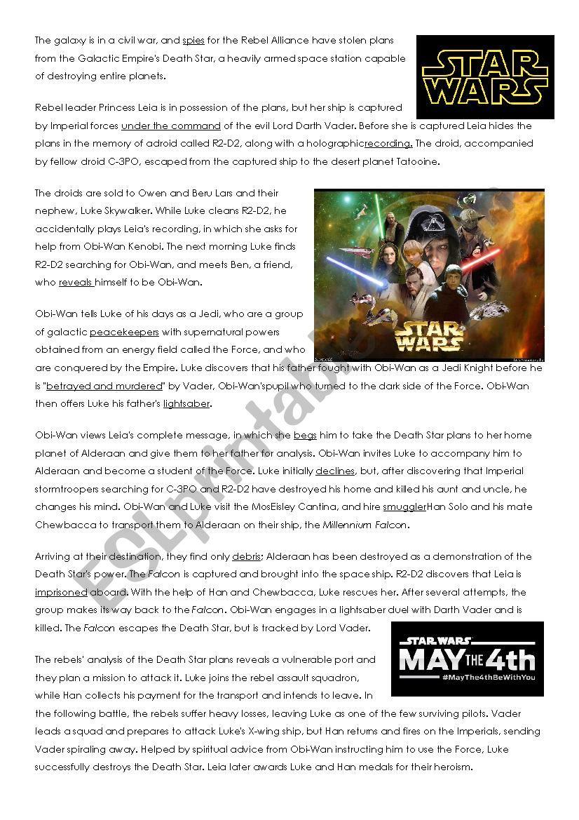 Star Wars Reading Comprehension
