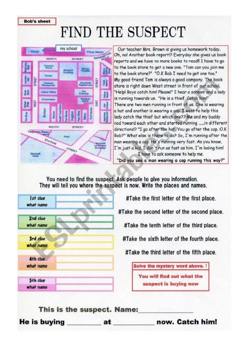 Solving a crime on worksheet Part 1