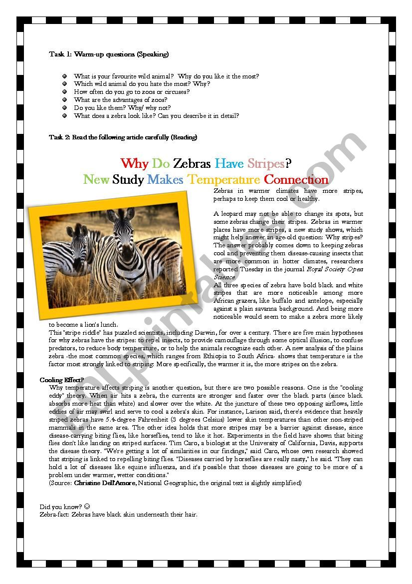 Why do zebras have stripes? worksheet