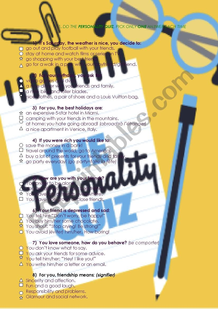 My personality quiz - ESL worksheet by desboa31@yahoo fr