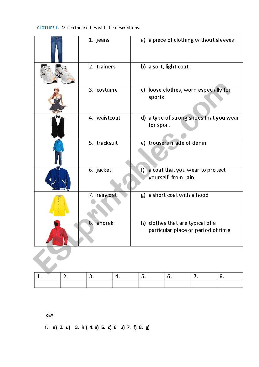 CLOTHES 1 (matching exercise) worksheet