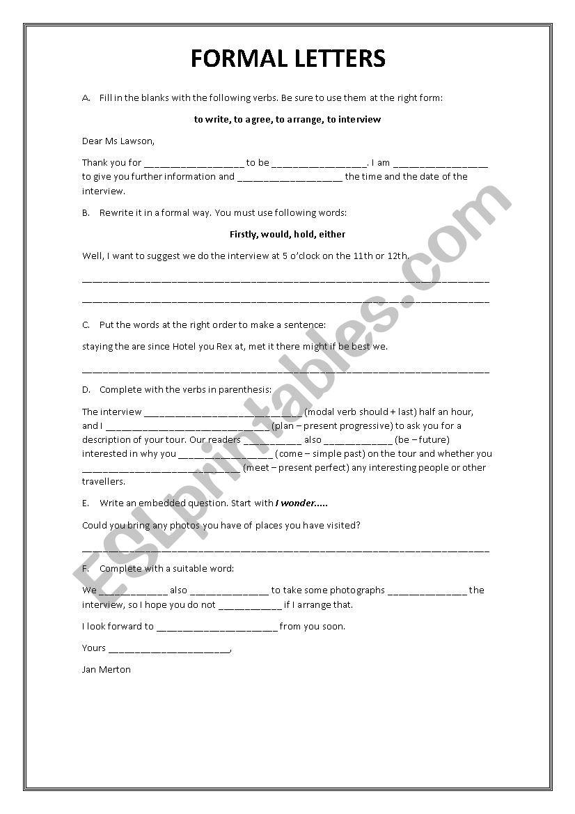 FORMAL LETTER worksheet