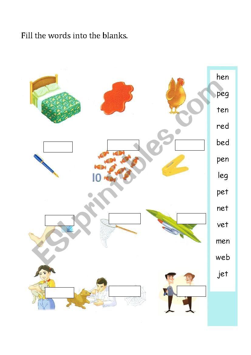 E Short Vowel Sound Esl Worksheet By Nutcharat