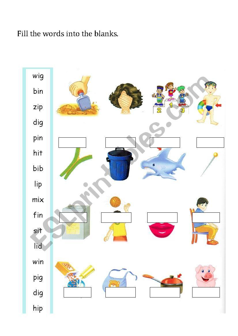 i short vowel sound worksheet