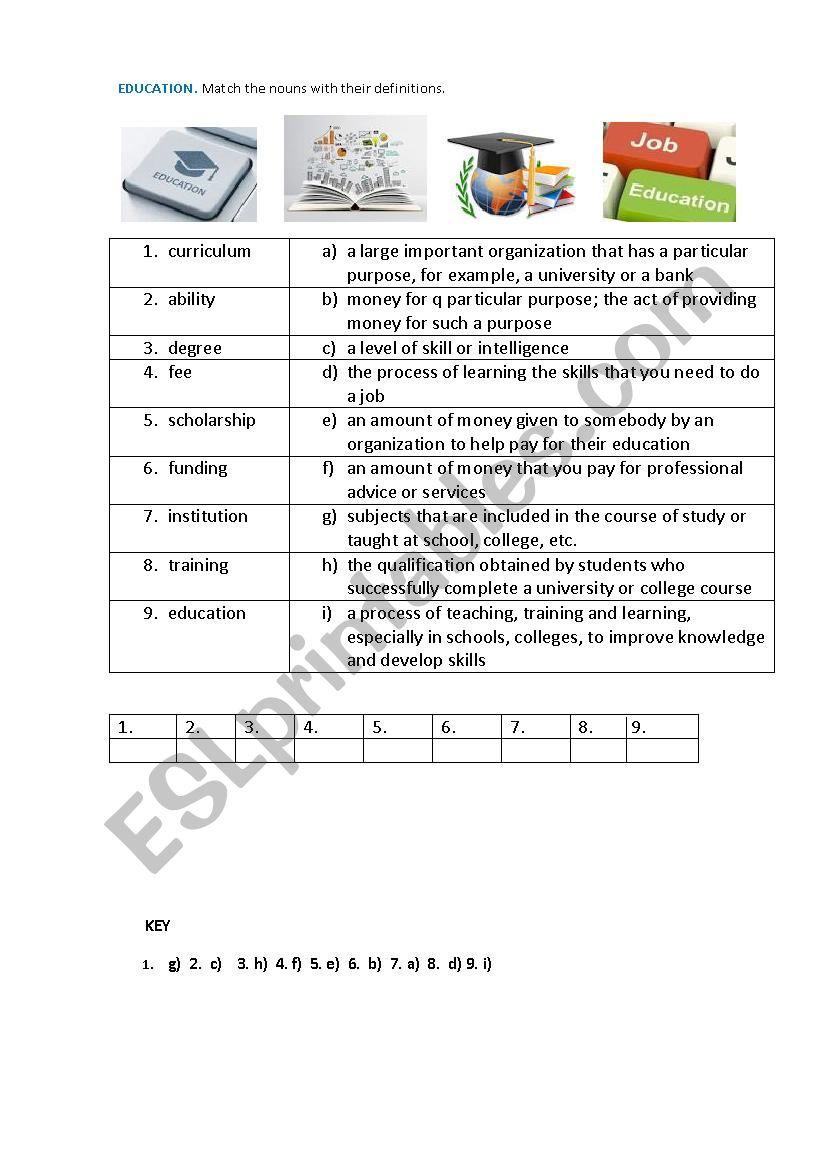 EDUCATION (Matching exercise) worksheet