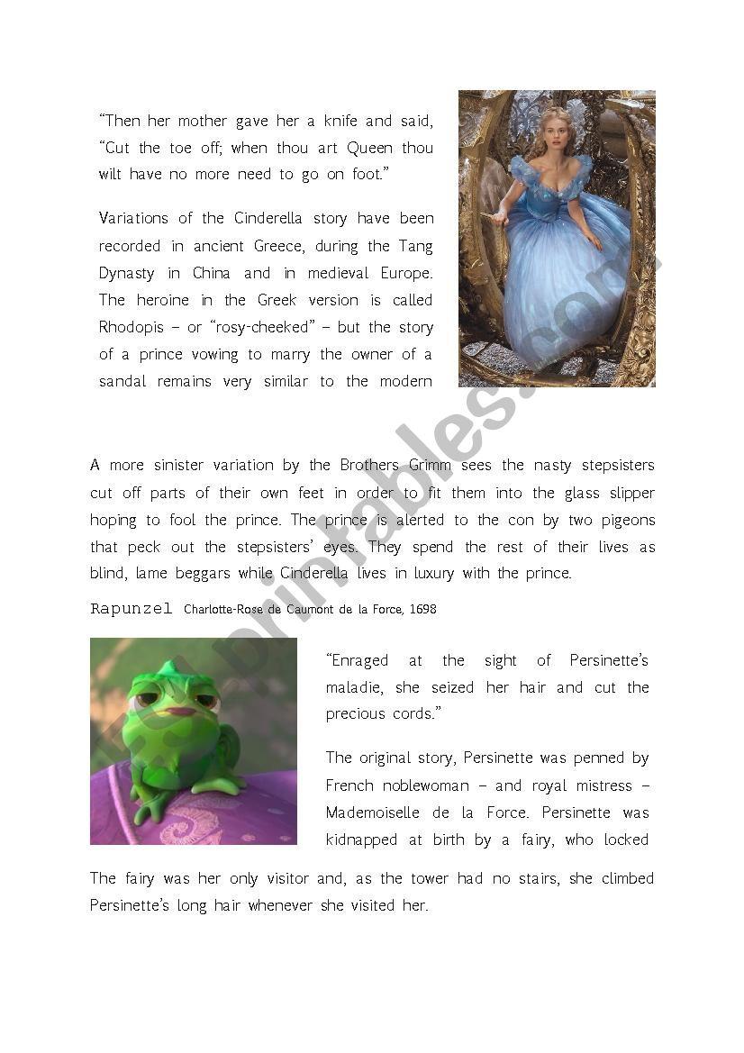 The Dark Origins of Fairy Tales - ESL worksheet by Anna04