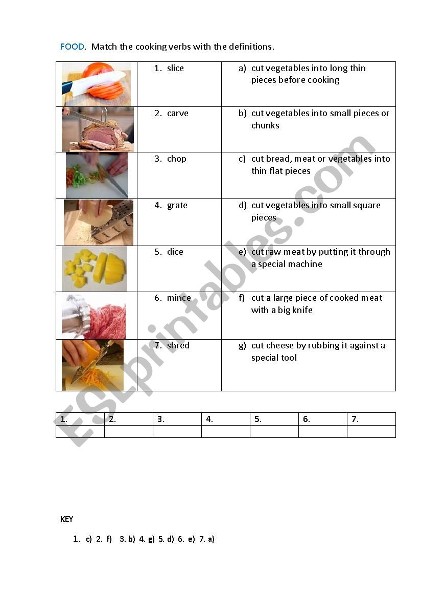 FOOD. COOKING VERBS ( matching exercise)