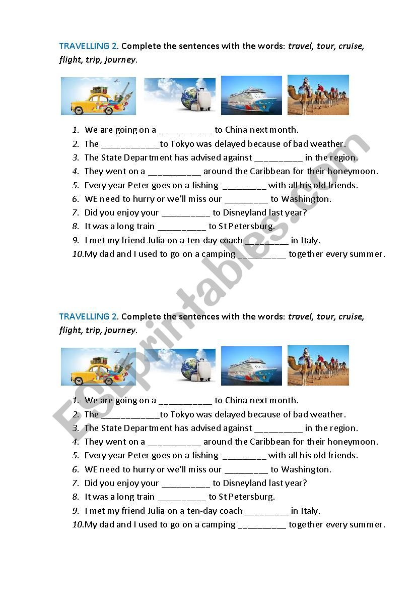 TRAVELLING 2  worksheet