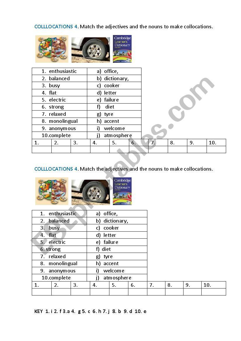 COLLOCATIONS 4 worksheet