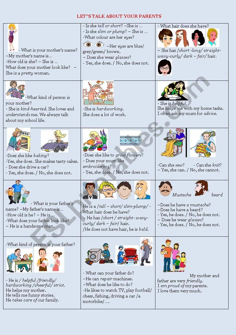 Let´s talk about your parents - ESL worksheet by olena linchuk