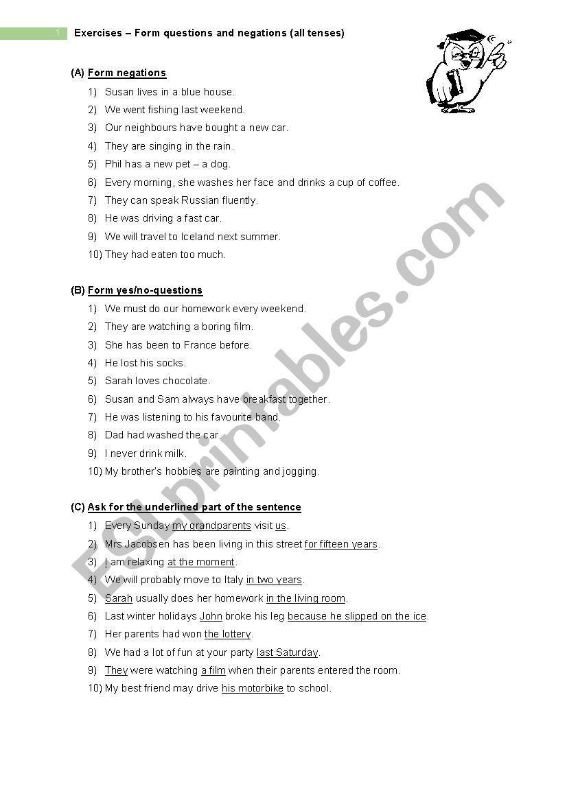 Questions & Negation - Exercises (all tenses) - ESL