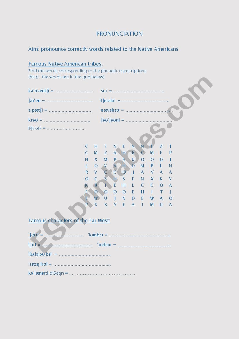 phonology - Indian tribes worksheet