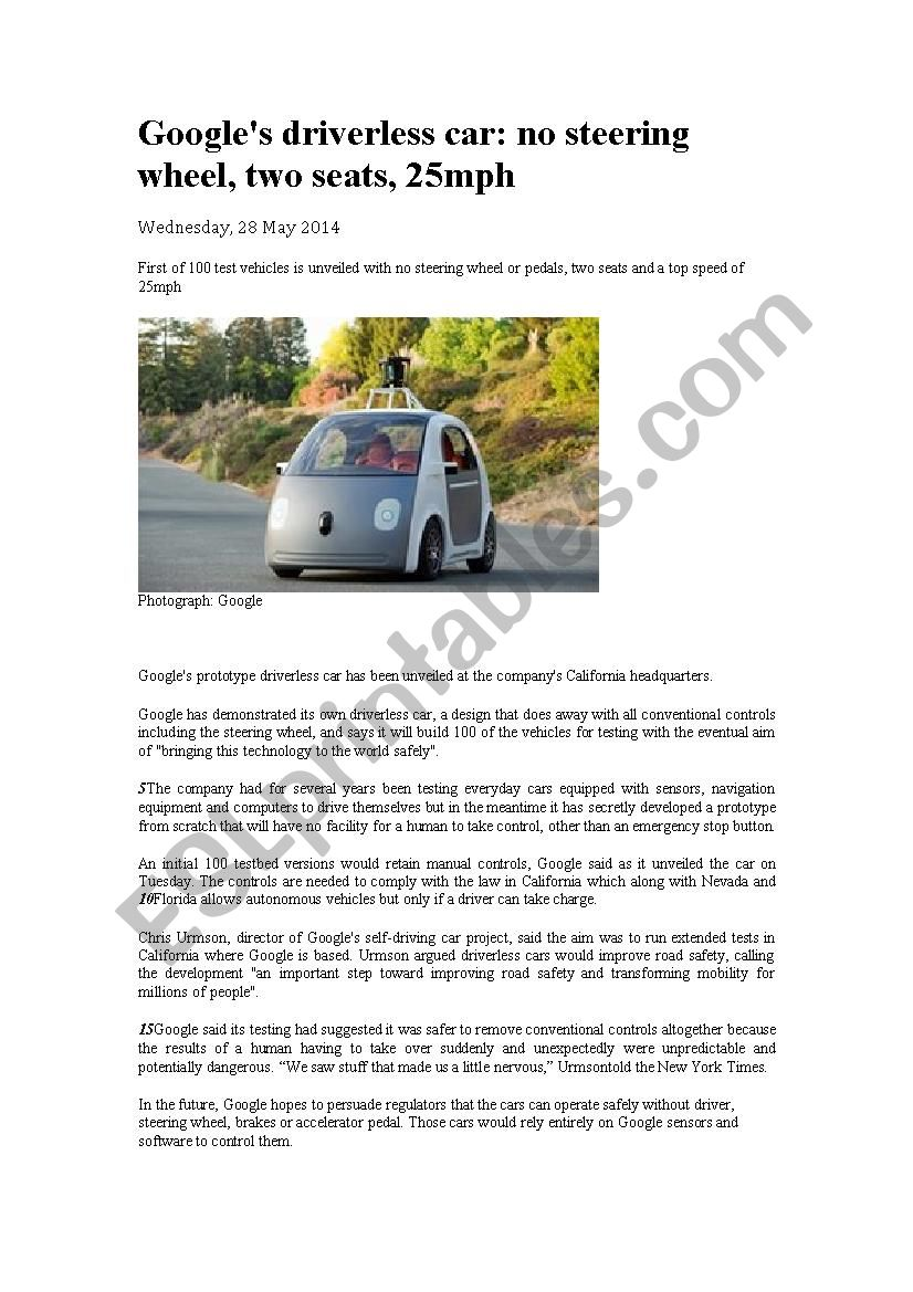 Driverless cars worksheet