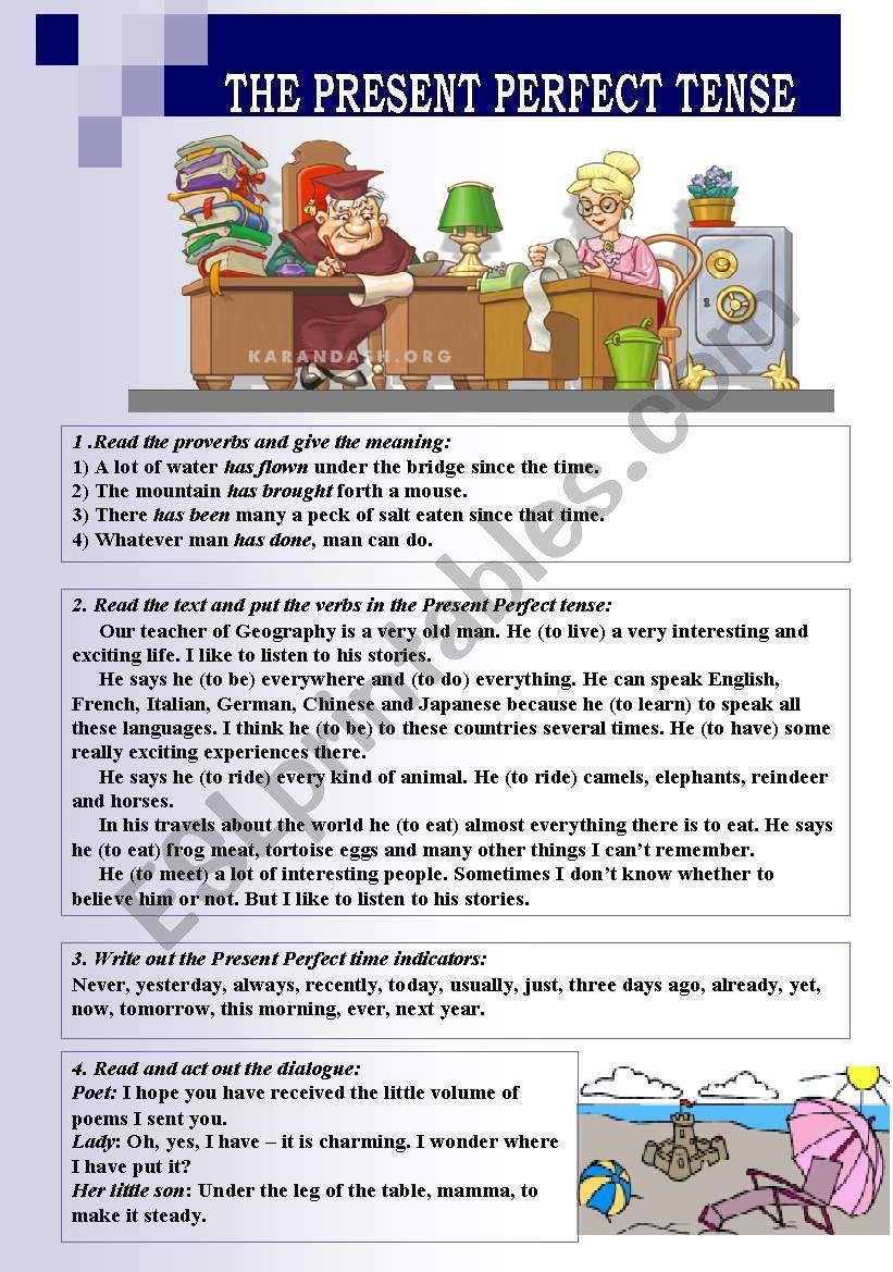 THE PRESENT PERFECT TENSE worksheet