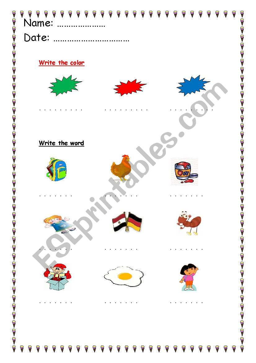alphabet words a : k  worksheet