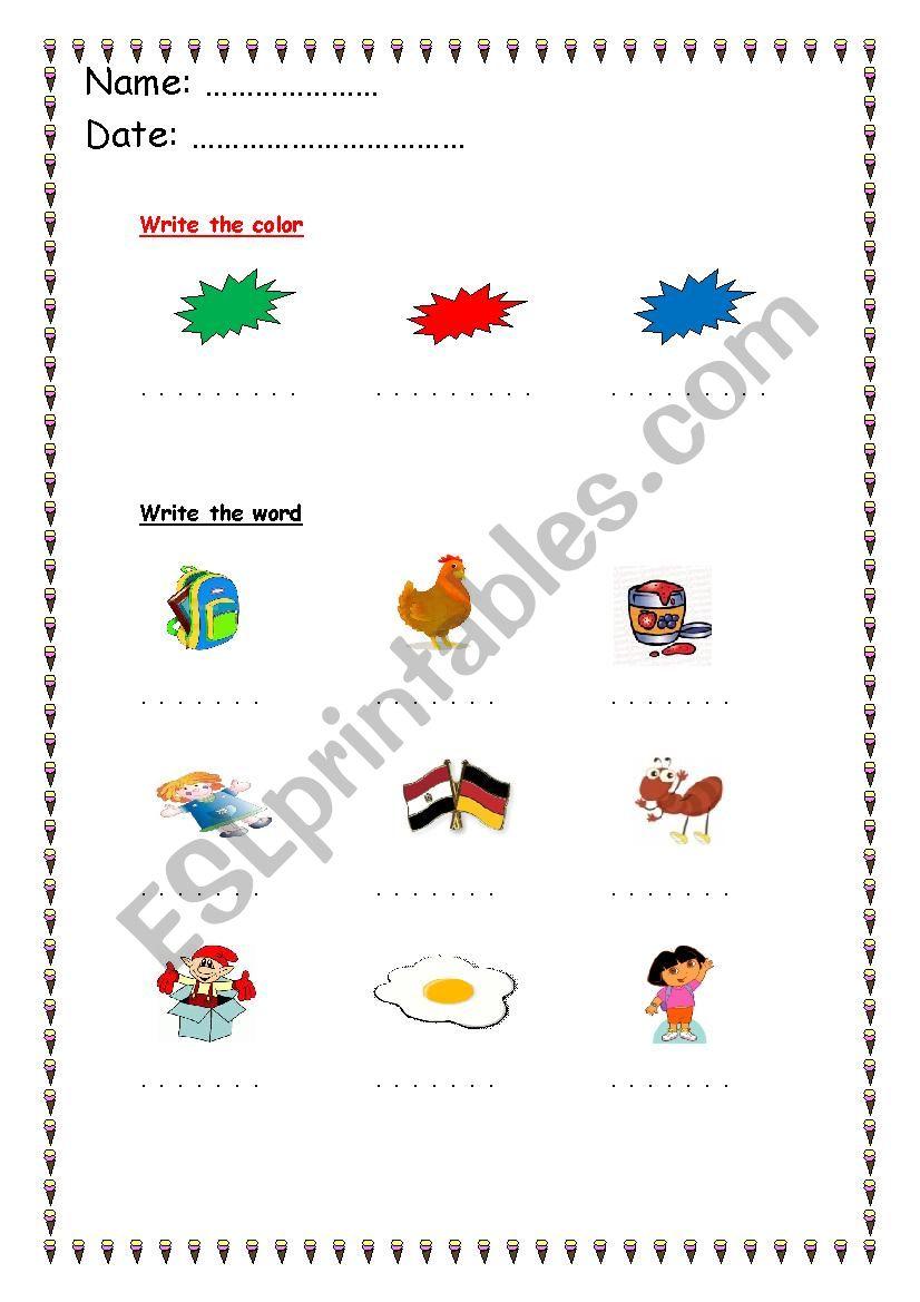 alphabet words a : k  worksheet