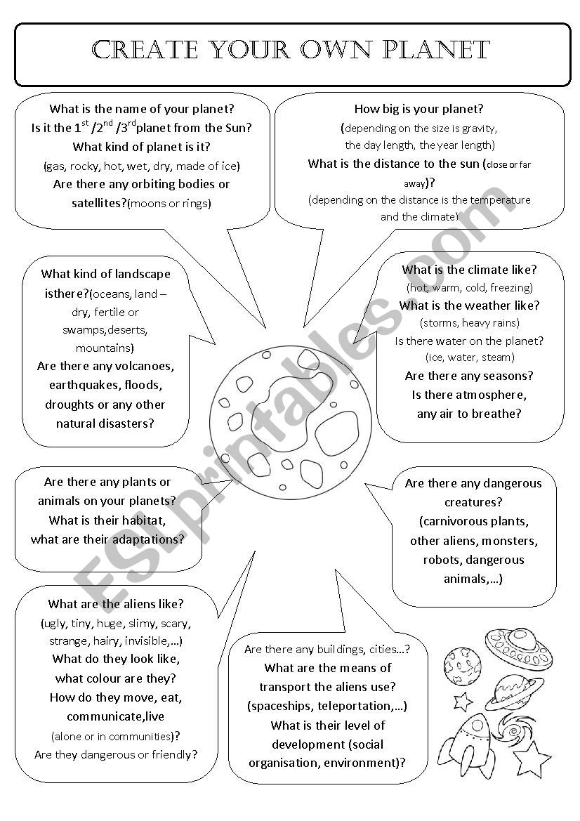 CREATE YOUR OWN PLANET worksheet