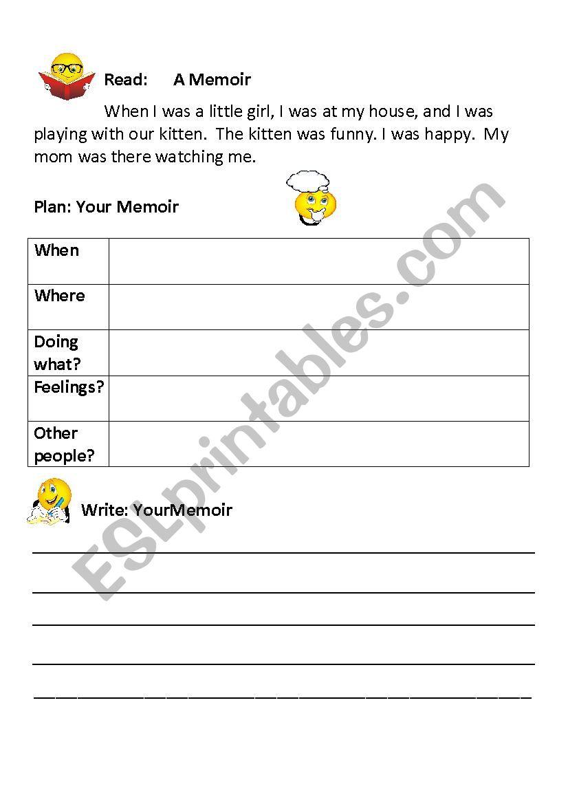 Memoir Writing Guide For Beginners Esl Worksheet By Dmaatta
