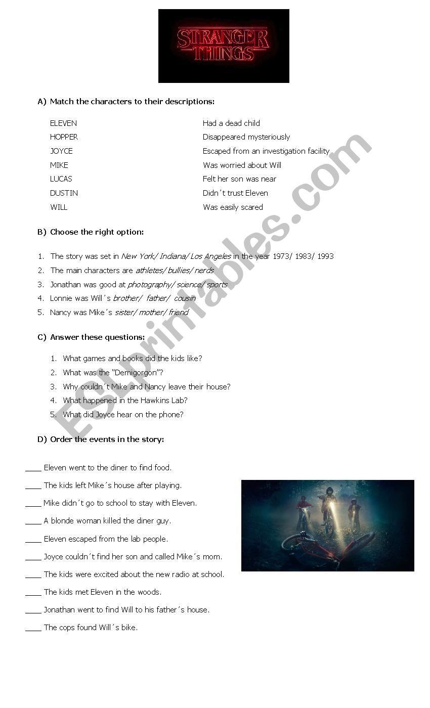 Stranger Things worksheet