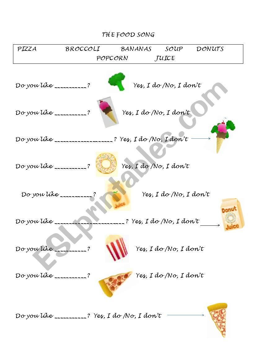 The food song worksheet