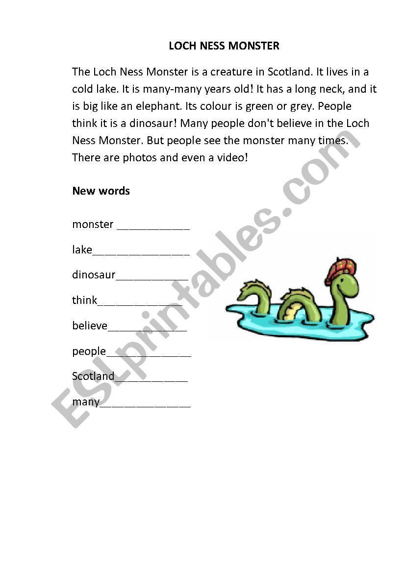 Loch Ness Monster worksheet