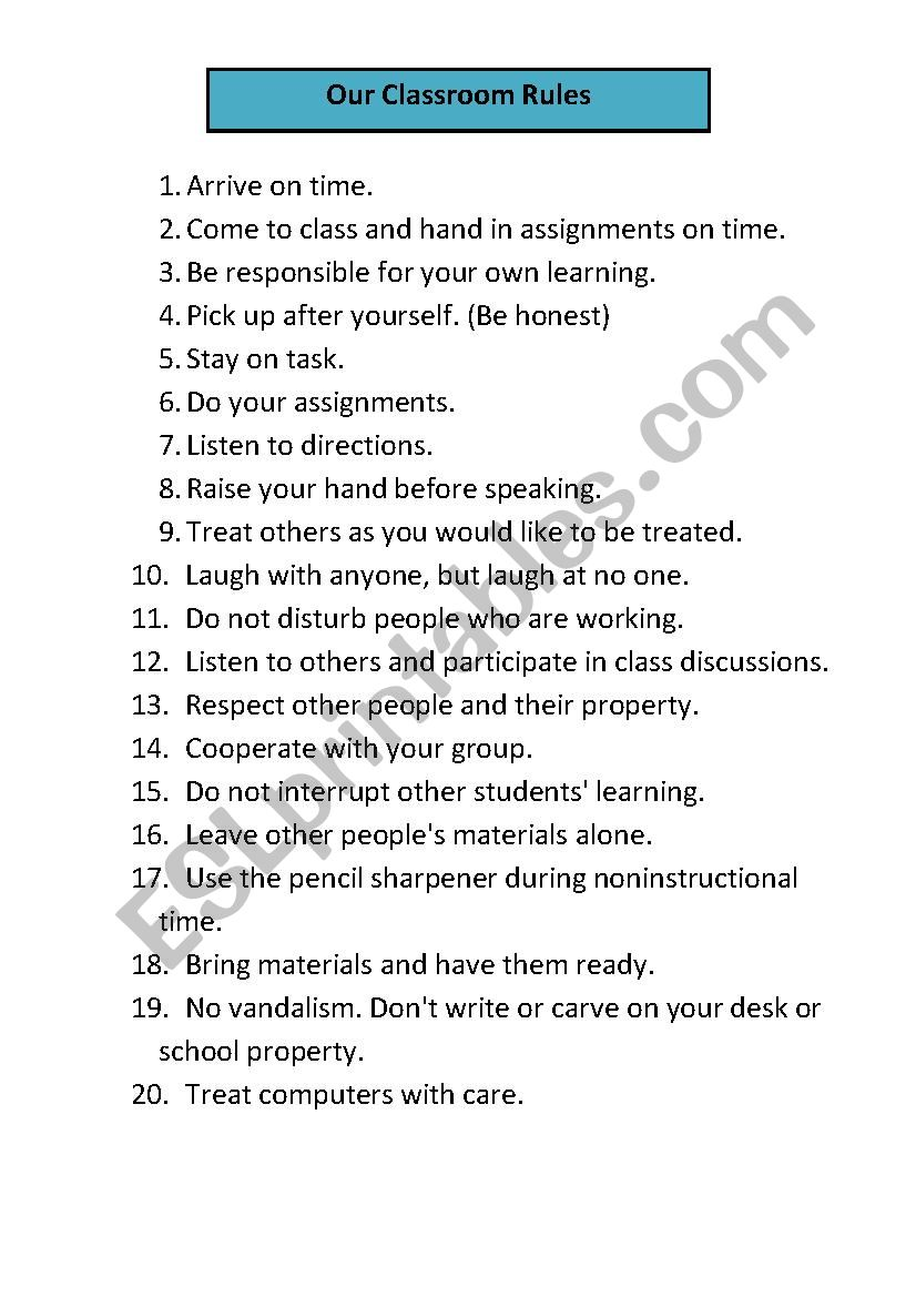 Our Classroom Rules worksheet