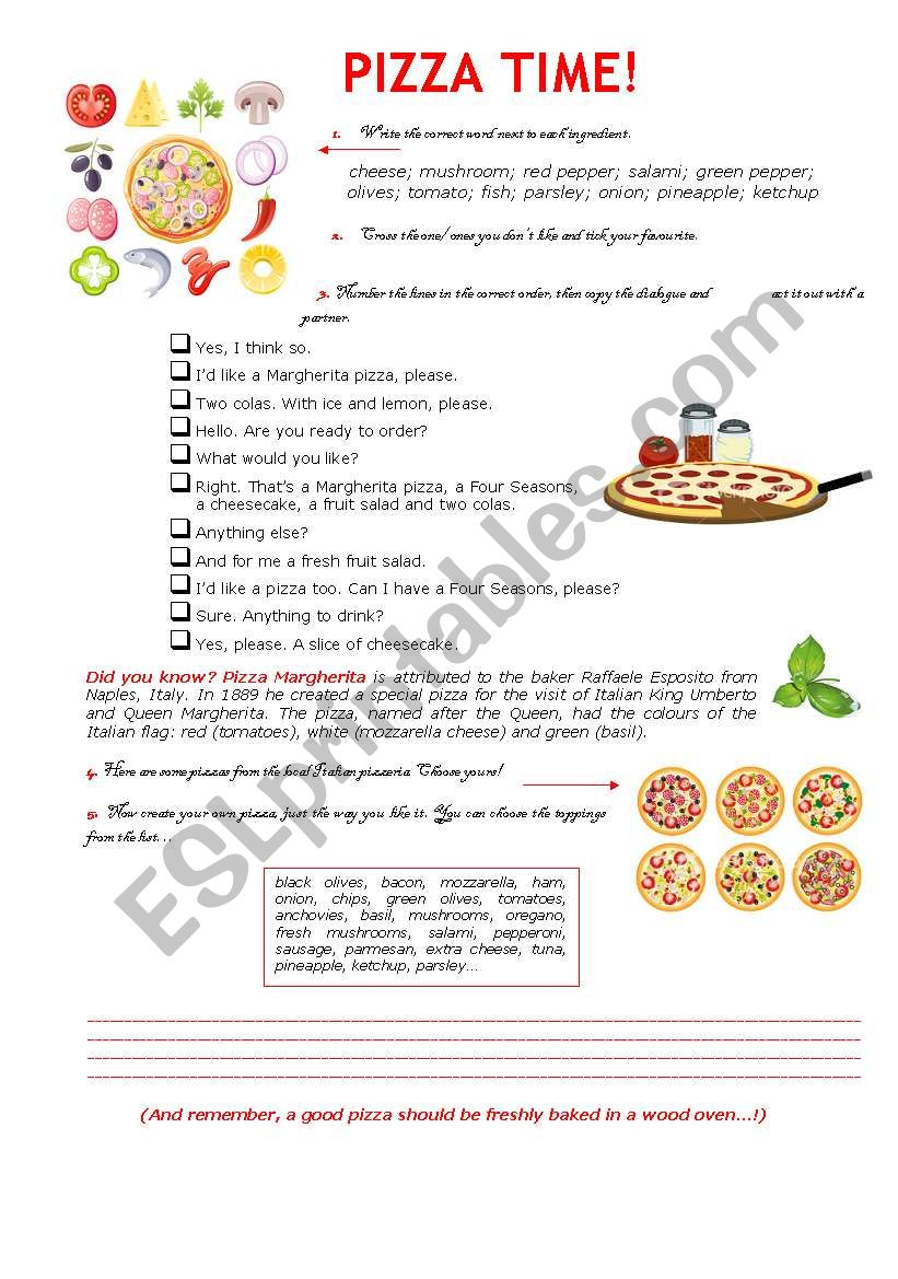 Pizza Time! worksheet