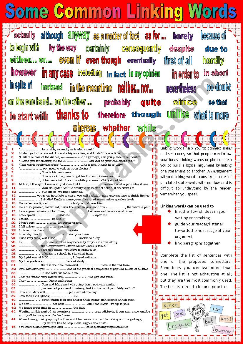 assignment linking words