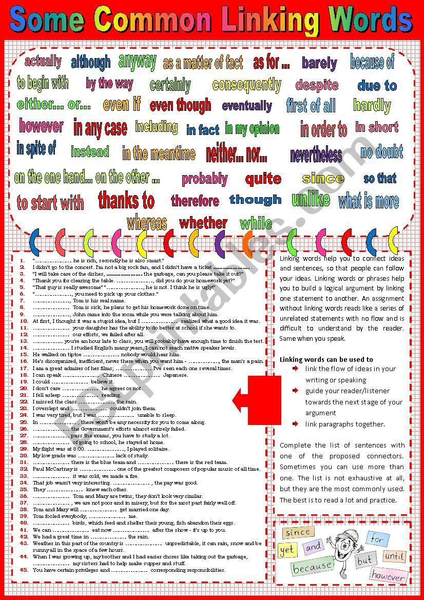Common linking words plus sample sentences + key.