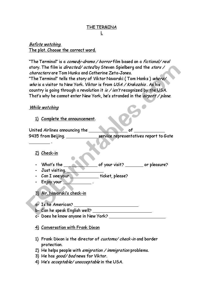 The Terminal worksheet
