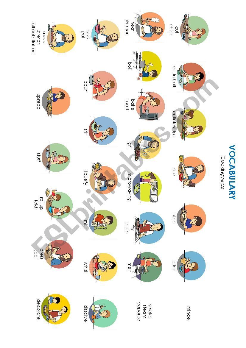 Cooking verbs worksheet