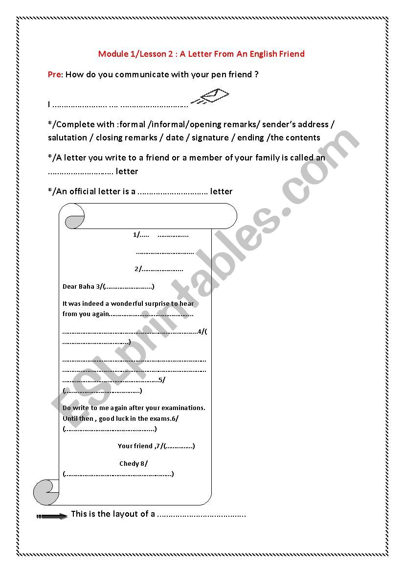 A Letter From An English Friend Esl Worksheet By Mariouma1