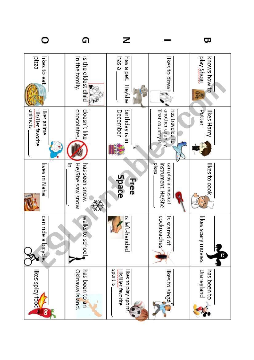 Getting to know your classmates - Bingo Worksheet (5X5)