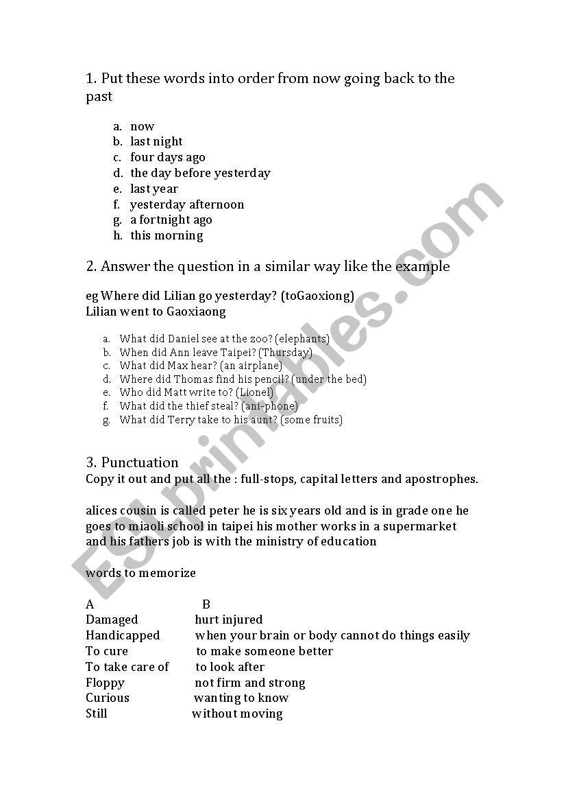 Simple Past tense - ESL worksheet by melu09