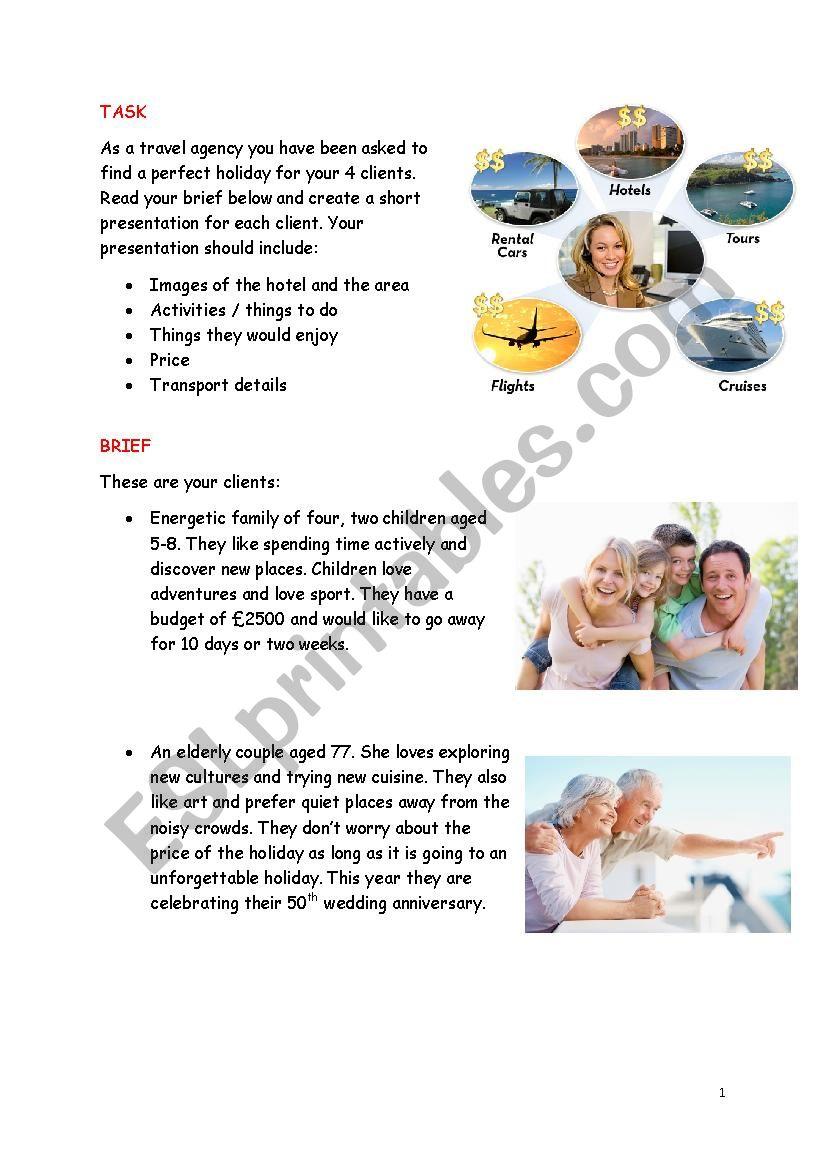 Travel agency  worksheet