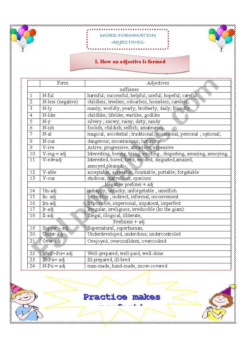 Adjectives formation  worksheet