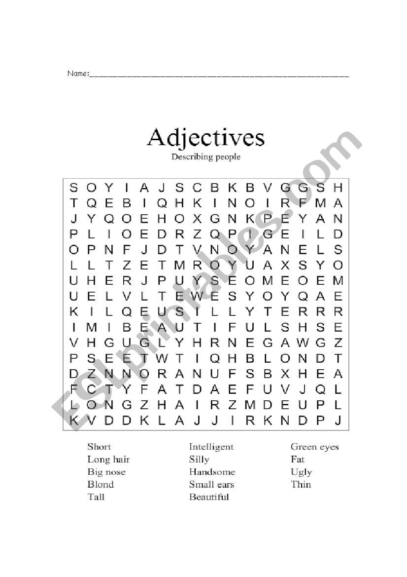 adjectives describing people alphabet soup and composition esl worksheet by evita95. Black Bedroom Furniture Sets. Home Design Ideas