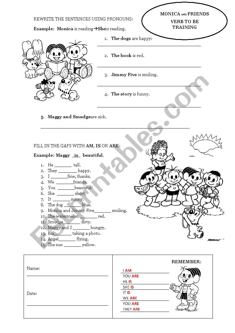 Verb to be - Simple Present (Monica and Friends) - ESL worksheet by